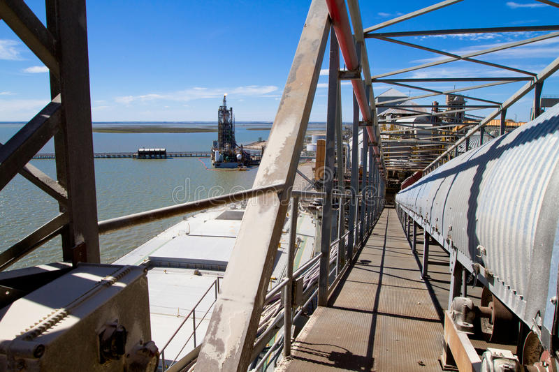 Port in Bahia Blanca, Argentina. Port of Ingeniero White - at the moment is a major trading port of Argentina, the second largest and deepest port in the stock photo