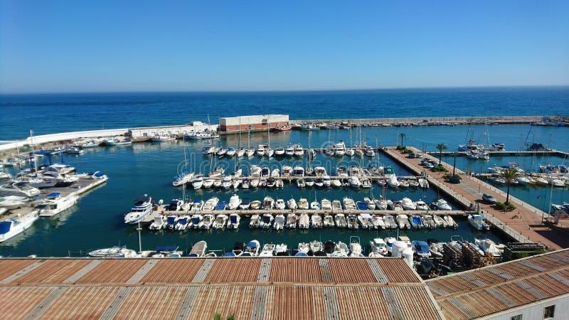 Port Bajadilla i Marbella arkivfoton