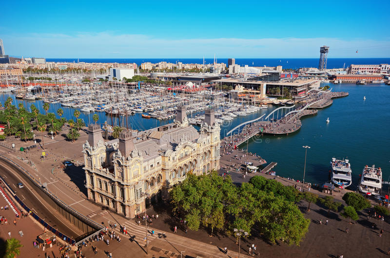 Port of Barcelona. Ariel view of Port of Barcelona royalty free stock photography