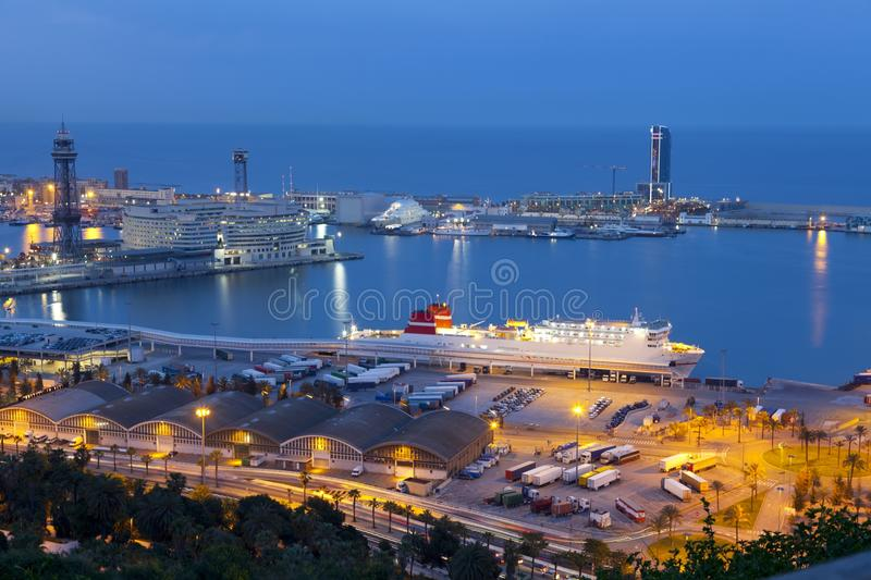 Port of Barcelona. Night picture of the port of Barcelona, Catalonia stock images