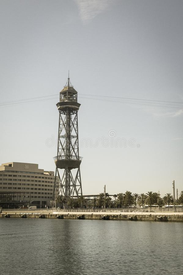 The port of Barcelona, at the end of the Ramblas. Barcelona, Cat royalty free stock images