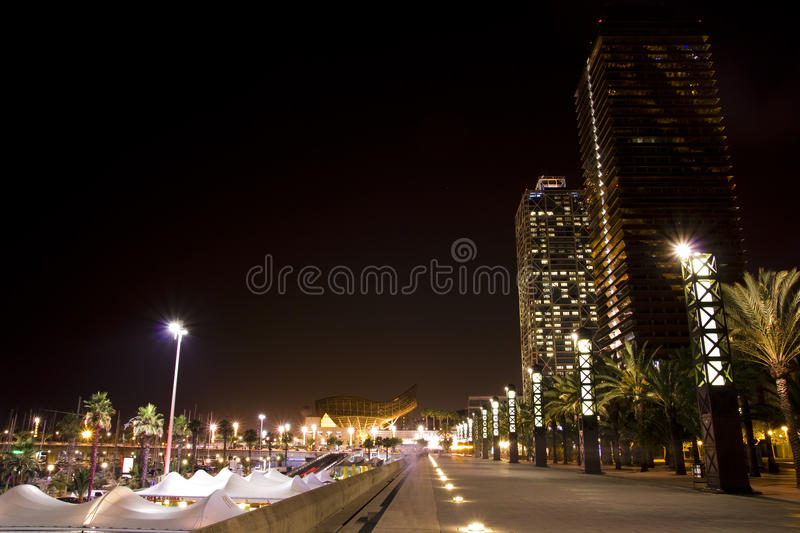 Port of Barcelona by night stock photos