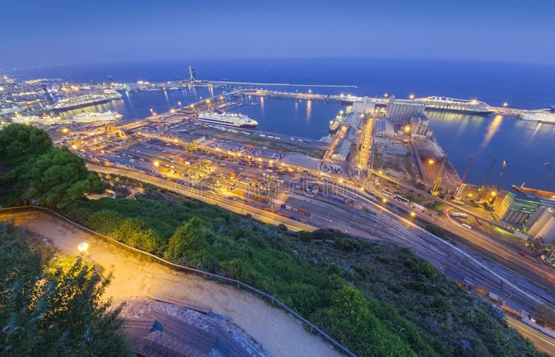 Port of Barcelona. night city view stock images