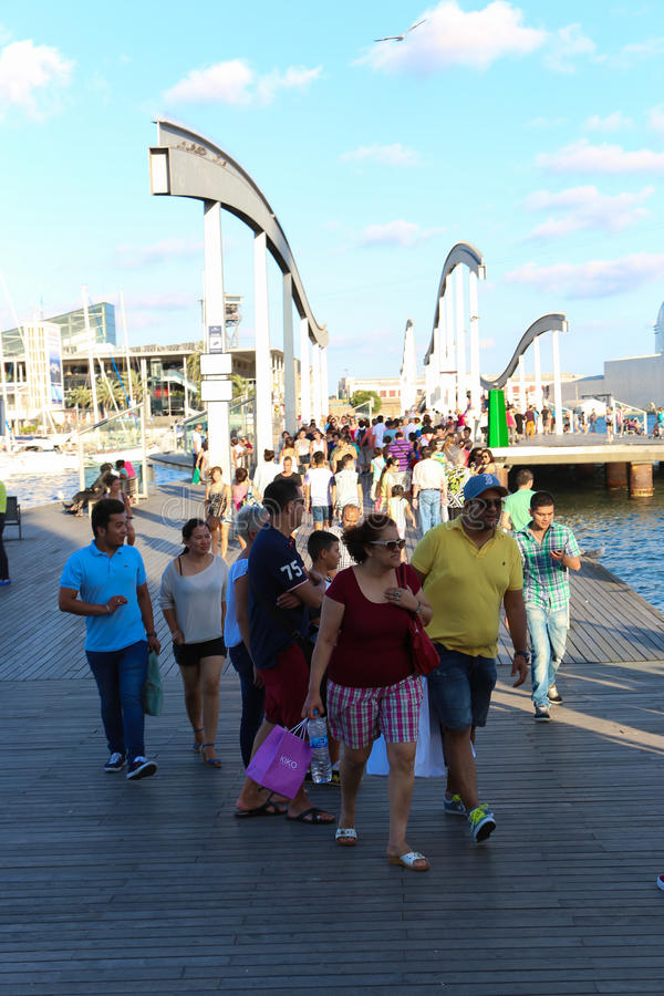 Port of Barcelona, Spain. Aug 19 2014 - Tourists enjoy at Port of Barcelona, Spain royalty free stock photo