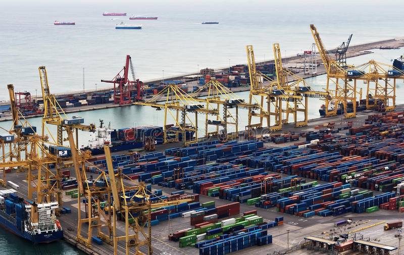 Port of Barcelona stock images