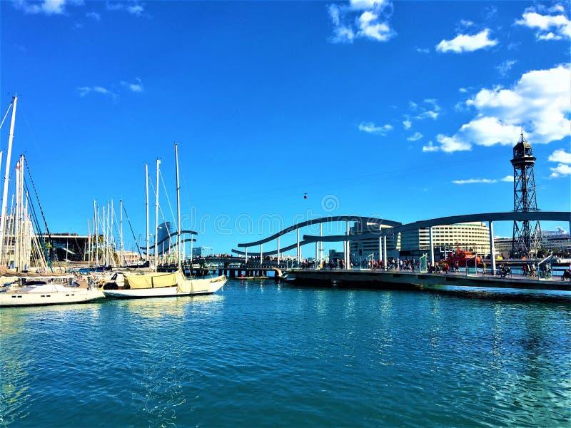 Port of Barcelona, yachts, bridge, water and the sky stock photo