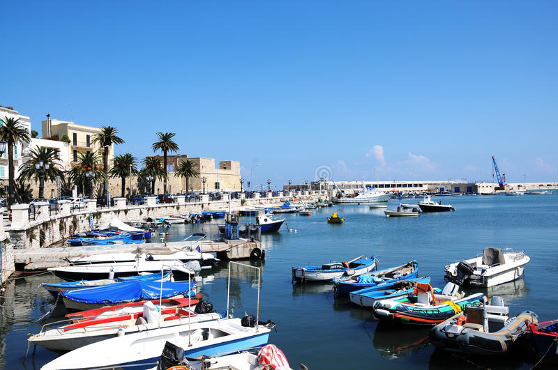 Port in Bari. Old port with the rowboats of the fisherman in Bari, Italy stock images