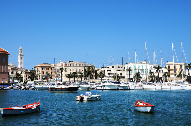 Port in Bari. Old port with the rowboats of the fisherman in Bari, Italy royalty free stock photography