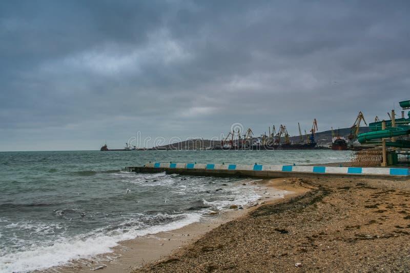 Port, beach in Feodosiya. Port, promenade and beach in Feodosiya. Crimea, Ukraine. December 2008 stock photos