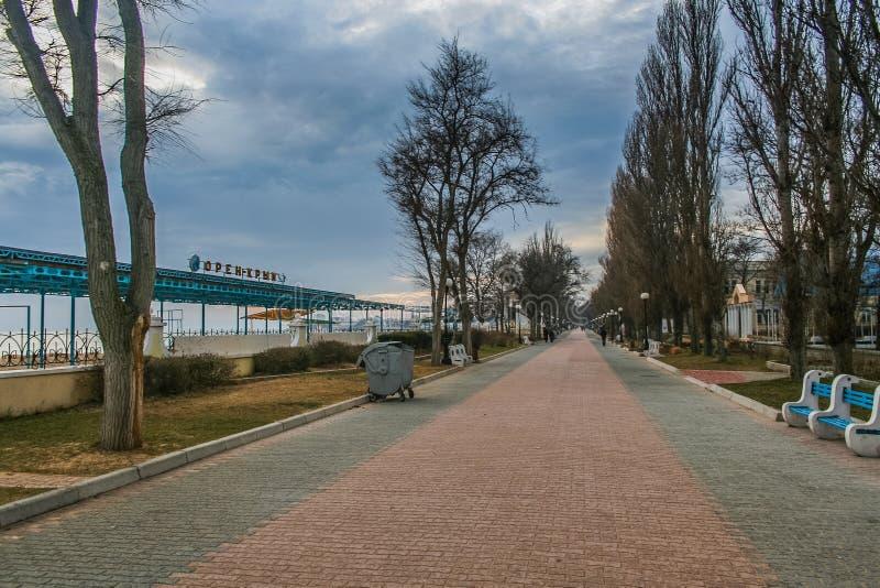Port and beach in Feodosiya. Port, promenade and beach in Feodosiya. Crimea, Ukraine. December 2008 stock image