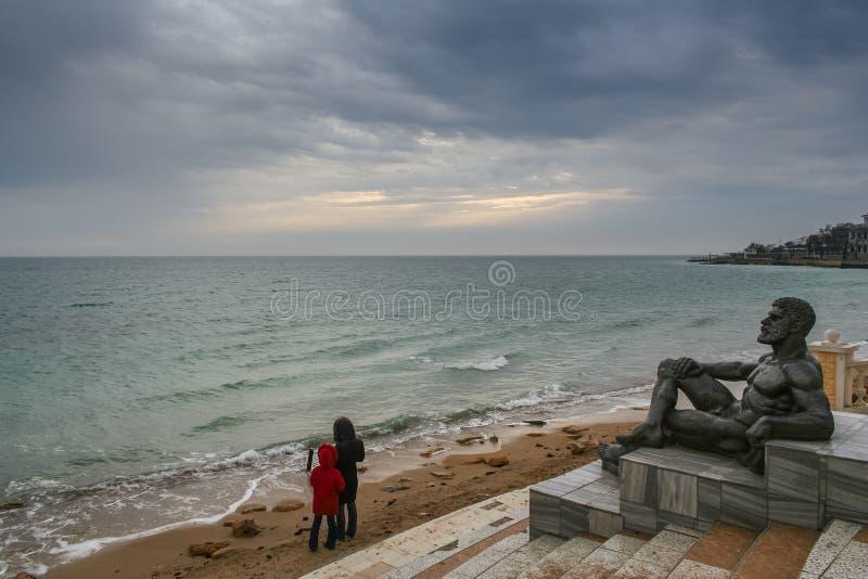 Port, beach in Feodosiya. Port, promenade and beach in Feodosiya. Crimea, Ukraine. December 2008 royalty free stock image