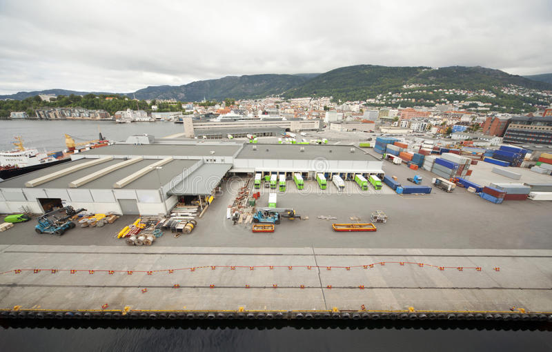 Port of Bergen in cloudy weather royalty free stock images