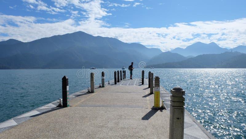 Port, Boat, Sun Moon Lake, Taiwan. Sun Moon Lake(Chinese:日月潭;pinyin:Rìyuè tán;Pe̍h-ōe-jī:Ji̍t stock photography