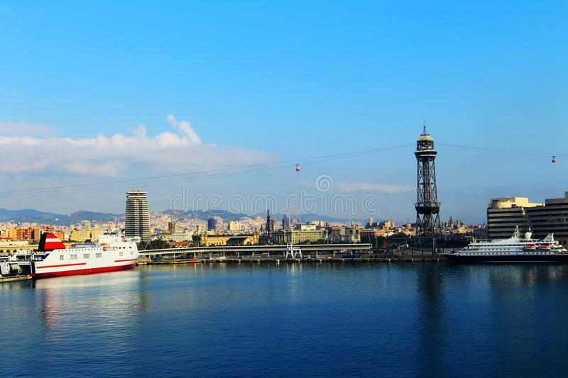 Port with boats and viewpoint in Barcelona, Spain. stock photos