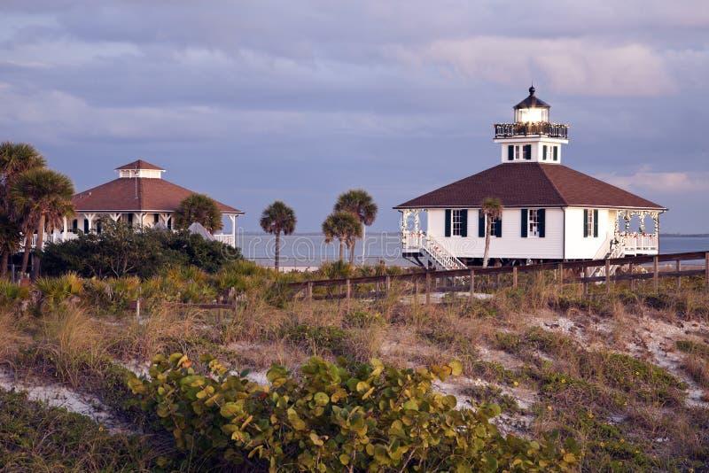 Port Boca Grande (Gasparilla Island) Lighthouse. Seen at sunset royalty free stock image