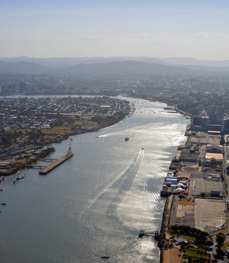 Port of Brisbane Aerial View, Queensland Australia royalty free stock photos