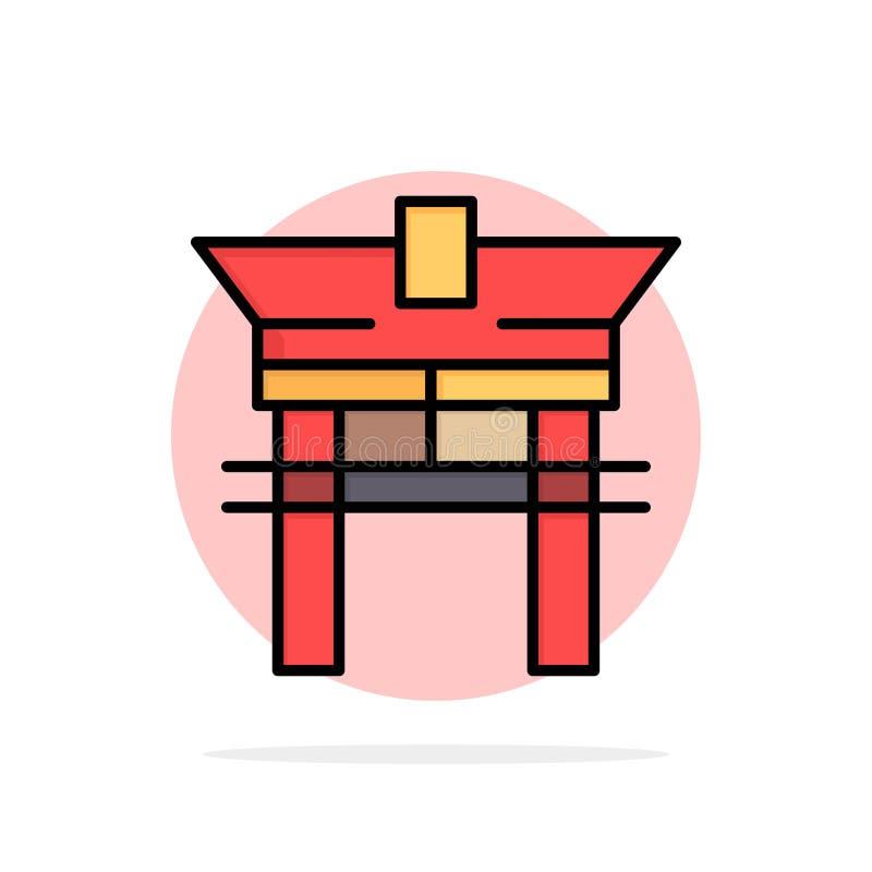 Port bro, Kina, symbol för färg för kinesisk abstrakt cirkelbakgrund plan vektor illustrationer