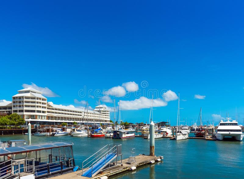 Port in Cairns, Australia. Copy space for text.  royalty free stock images