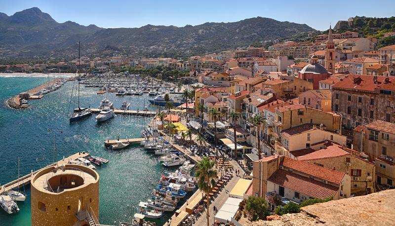 Port of Calvi Corsica - overview from the citadel stock image