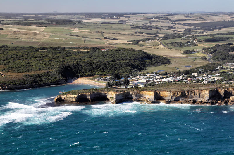 Port Campbell. Aerial view of Port Campbell at the Great Ocean Road in the Port Campbell National Park, Victoria, Australia stock photo