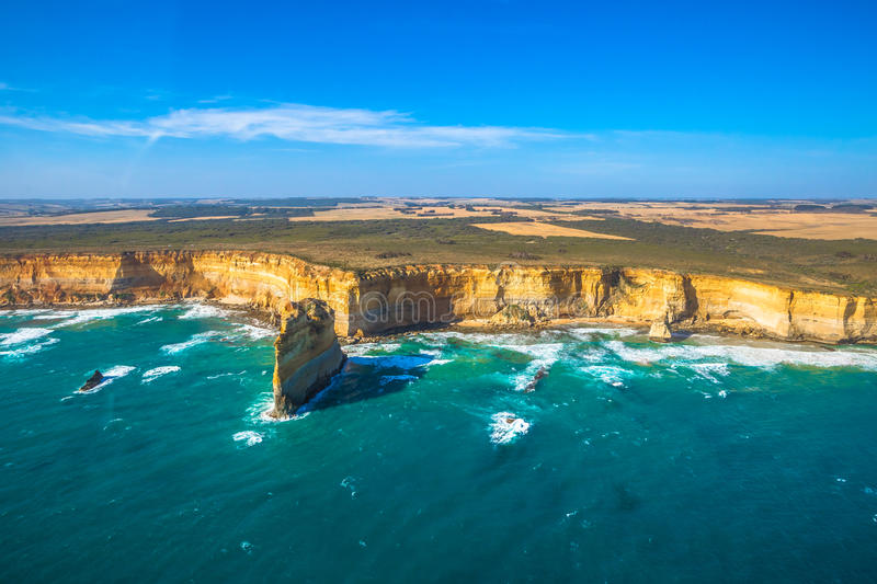 Port Campbell National Park. Aerial view of shipwreck coast on the Great Ocean Road in Victoria, Australia famous attraction of the Port Campbell National Park stock image