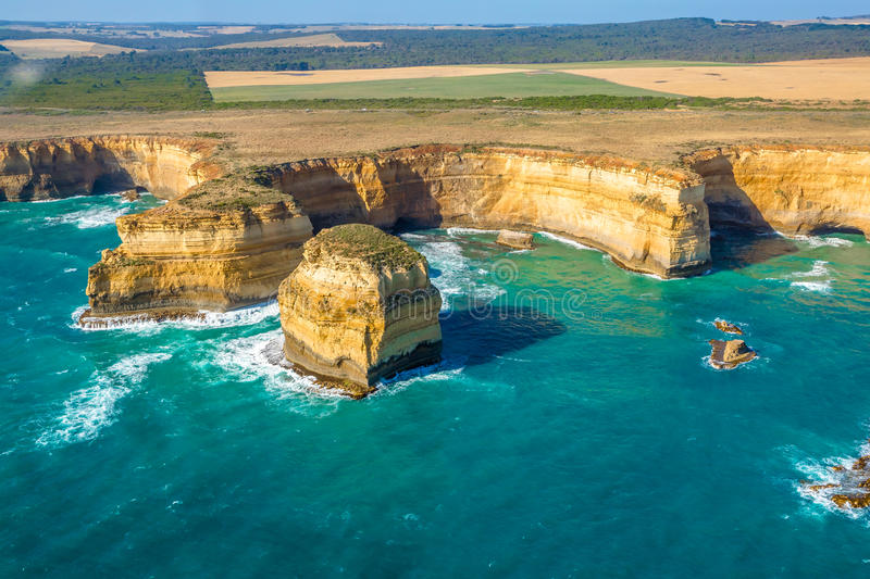 Port Campbell National Park. Aerial view of shipwreck coast on the Great Ocean Road in Victoria, Australia famous attraction of the Port Campbell National Park royalty free stock photography