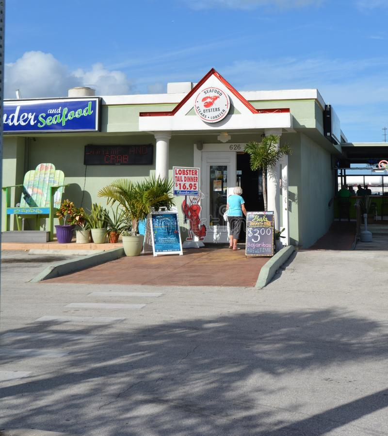 Port Canaveral Restaraunt. Seafood Eatery in Port Canaveral Complex in Cape Canaveral Florida. USA stock photo