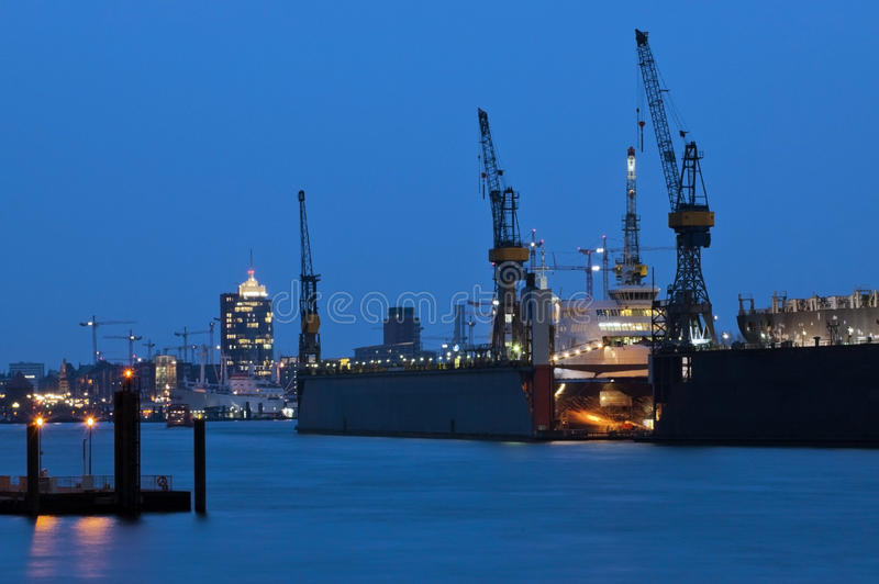 Port for cargo ships stock images