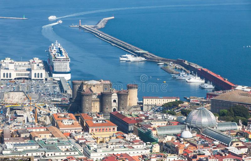 Port, Castel Nuovo and Galleria Umberto I in Naples, Italy stock photo