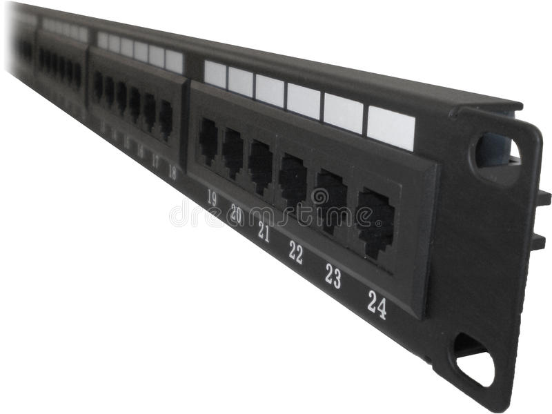 24 port Cat5e Cat6 Patch Panel. With RJ45 8p8c connctor sockets for server racks and cabinets stock photos