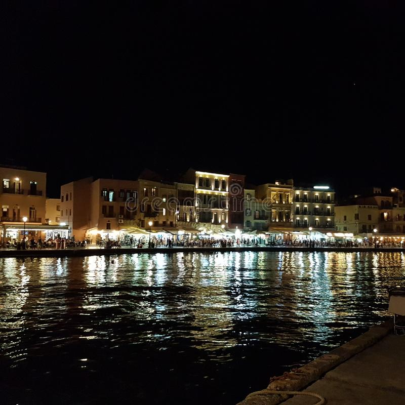 Port in Chania at night royalty free stock images