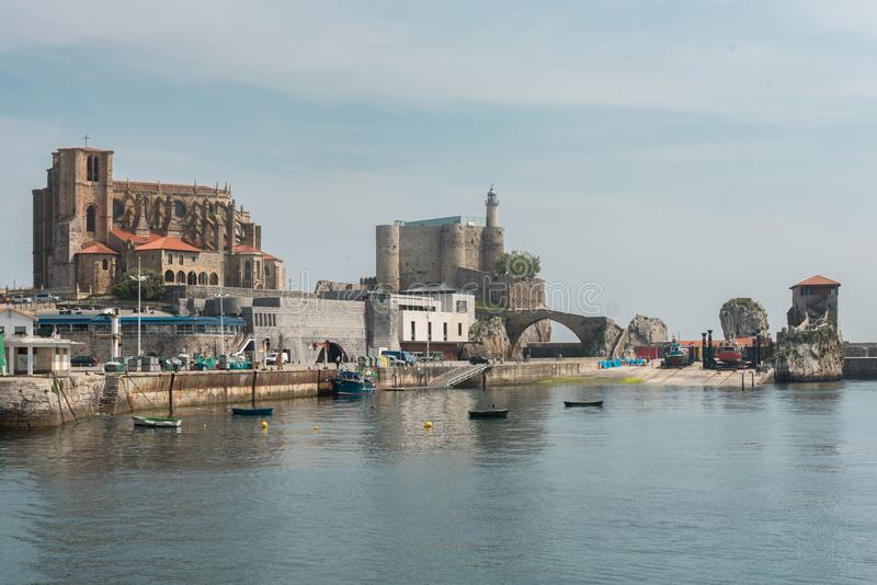 Port of the city of Castro Urdiales. Cantabria, Spain stock photography