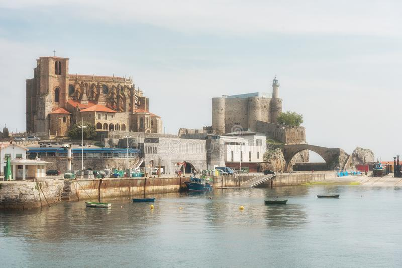 Port of the city of Castro Urdiales. Cantabria, Spain royalty free stock photos