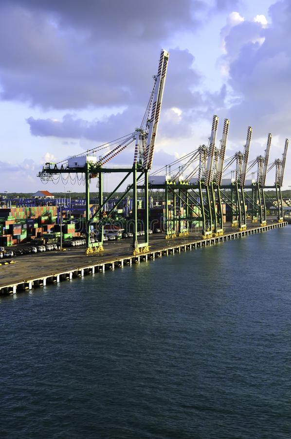 Port of Colon Panama. Cranes and shipping containers at the Port of Colon Panama stock photos