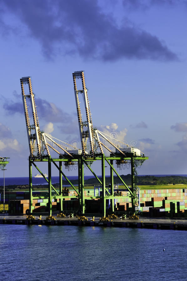 Port of Colon Panama. Shipping containers and cranes at the Port of Colon Panama royalty free stock photography