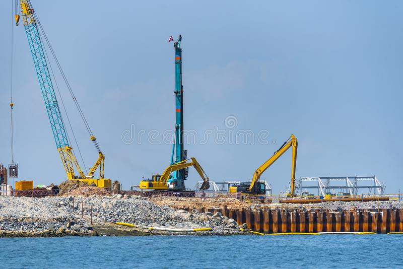 Port construction for industry in Singapore. Port royalty free stock photography