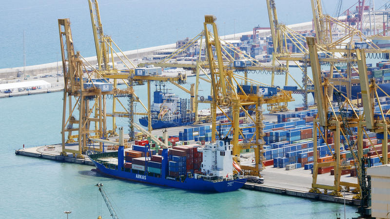 A port with container ships royalty free stock images