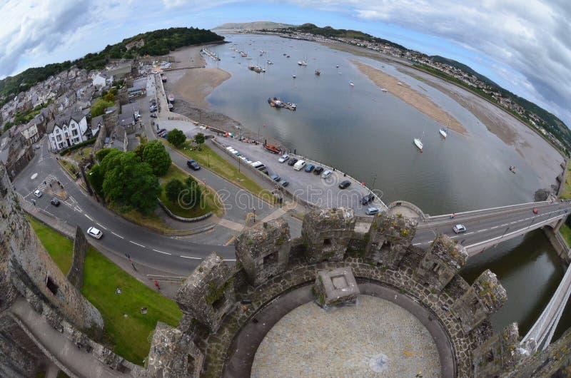 Port Conwy & slott fotografering för bildbyråer