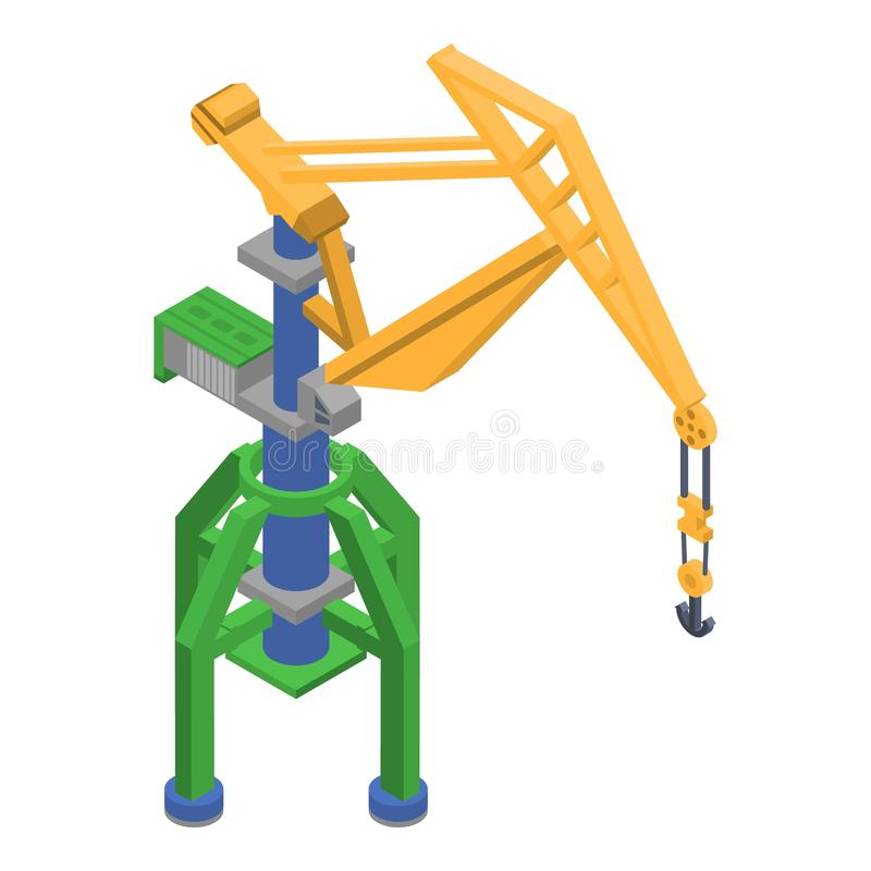 Port crane icon, isometric style stock illustration
