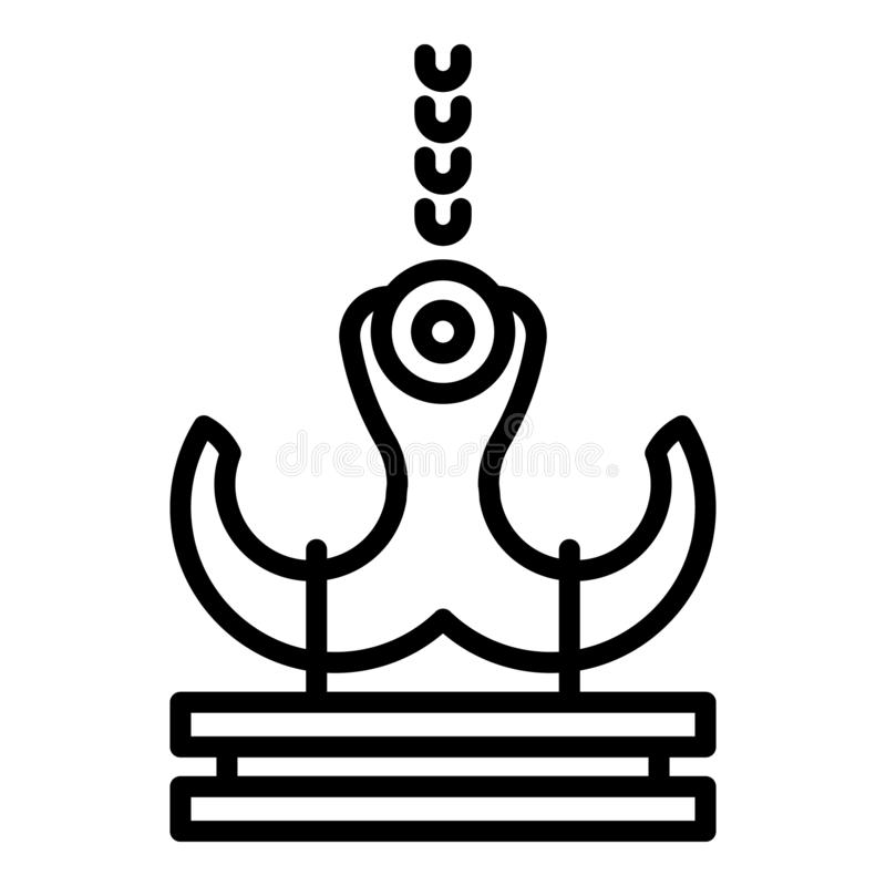 Port crane icon, outline style stock illustration