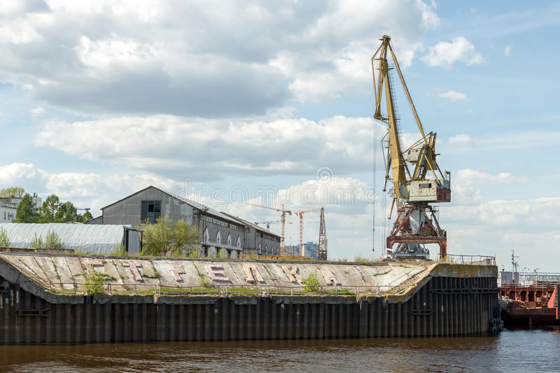 Download Port Cranes In Cargo River Port On The Strelka In Nizhny Novgorod Stock Photo - Image: 83712806