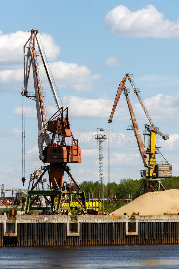 Download Port Cranes On The Fortified Banks Of The Volga River Stock Photo - Image: 83713814