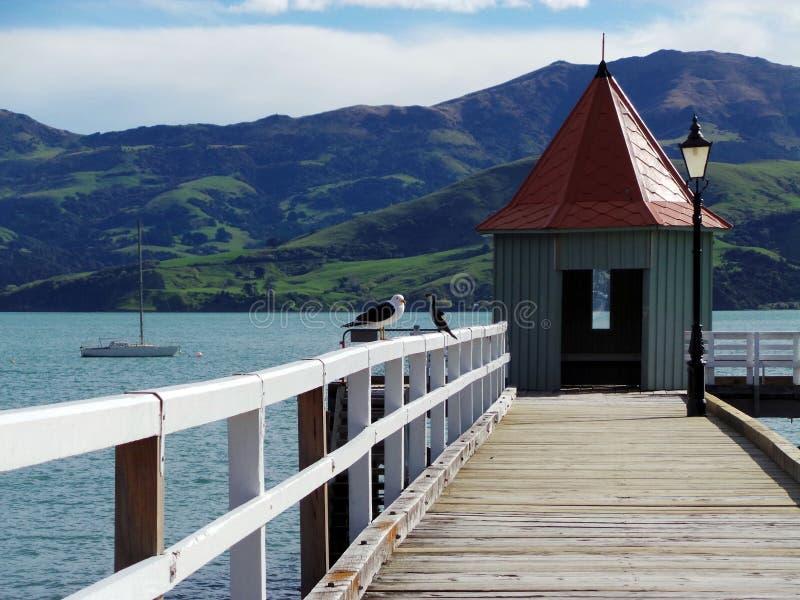 Port d'Akaroa, Nouvelle-Zélande image stock