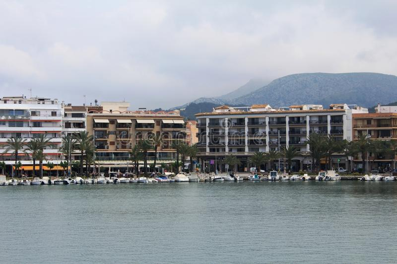 Port d`Alcúdia, in Mallorca. Alcúdia is a municipality and township of the Spanish autonomous community of the Balearic Islands. It is the main tourist royalty free stock images
