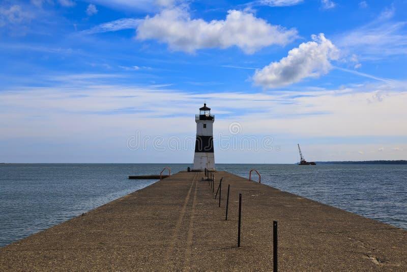 Port d'Erie Pier Light du nord sur le lac Érié images libres de droits