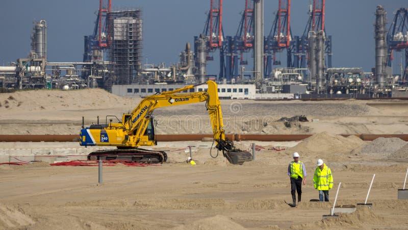 Port d'excavatrice de chantier de construction de Rotterdam photo stock