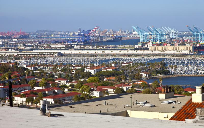 Port d'installation industrielle de Long Beach la Californie images libres de droits