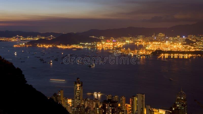 Port de conteneur à la scène de nuit de port de Victoria photos libres de droits
