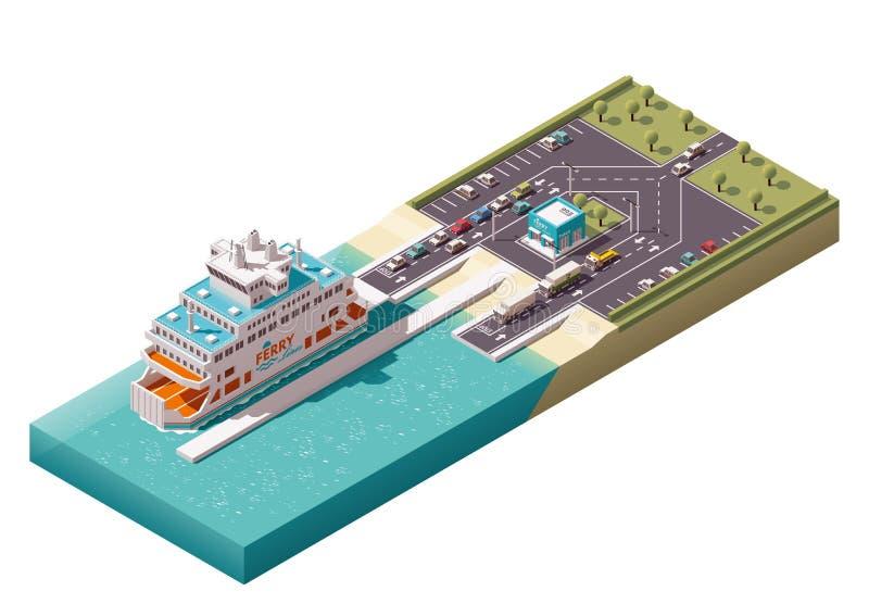 Port de ferry isométrique de vecteur illustration libre de droits