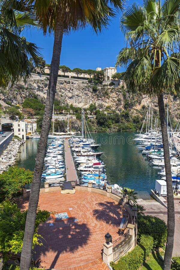 Port de Fontvieille Fontvieille Harbour in Monaco, French Riviera royalty free stock image